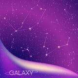 与星星座、银河、stardust、星云和明亮的光亮的星的抽象星系背景 宇宙设计 免版税库存图片