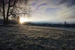 与星期日光芒的一个冬天早晨 图库摄影