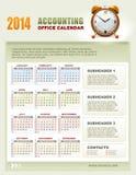 与星期的2014年认为的日历编号传染媒介 免版税库存照片