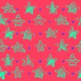 与星的五颜六色的无缝的传染媒介样式,剪影样式,传染媒介例证,手图画 库存例证