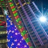 与星的圣诞树 免版税库存图片