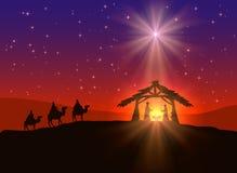 与星的基督徒圣诞节背景 图库摄影