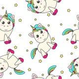 与星的彩虹独角兽在白色背景 库存照片