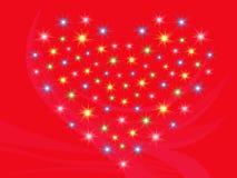 与星的心脏在红色背景 免版税库存照片