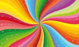 与星的抽象彩虹条纹 库存图片