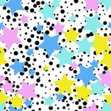与星的无缝的抽象样式 孟菲斯样式,第80 装饰的背景 向量例证