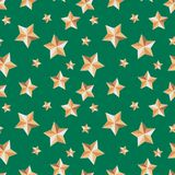 与星的无缝的纹理欢乐在绿色背景 皇族释放例证