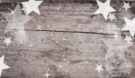 与星的木背景 库存照片