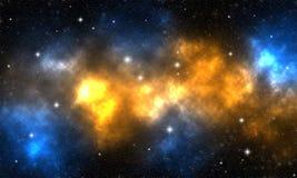 与星的橙色和蓝色星云在外层空间 图库摄影
