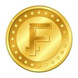 与星的法郎瑞士货币金币 在空白背景查出的向量例证 编辑可能的元素和强光 富有 向量例证