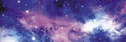 与星的波斯菊横幅 免版税库存照片