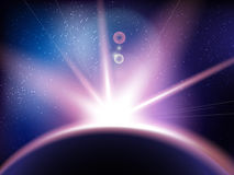与星的空间向量背景 宇宙例证 与星claster的色的波斯菊背景 库存例证