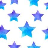 与星的蓝色水彩样式 库存例证