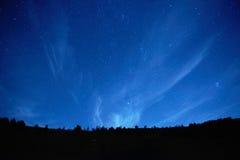 与星的蓝色黑暗的夜空。 库存照片