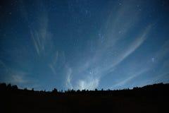 与星的蓝色黑暗的夜空。 免版税库存照片