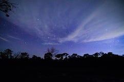 与星的蓝色黑暗的夜空 库存照片