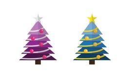 与星的装饰的被设置的圣诞树和球 向量例证