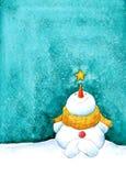 与星的雪人 免版税图库摄影