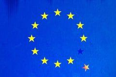 与星落的欧洲旗子 库存照片