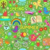 春天和夏天无缝的样式 免版税库存图片