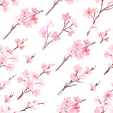 与春天树的水彩在开花样式 向量例证