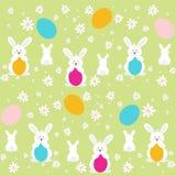与春天的复活节兔子开花无缝的样式 库存图片