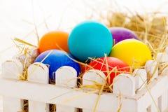 与春天的复活节彩蛋卡片在白色背景开花 库存图片