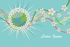 与春天的行星地球开花,卷曲丝带 EPS 库存照片
