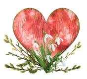 与春天花和枝杈的葡萄酒木红色心脏 免版税库存图片