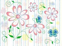 与春天花和蓝色蝴蝶的纹理在与棕色,蓝色和黄线的白色背景 图库摄影