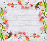 与春天花和蝴蝶的花卉框架 免版税库存图片