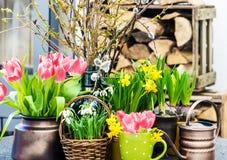 与春天花的家庭内部复活节装饰 库存照片