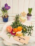 与春天花的表和与I的一个正文消息爱妈妈 库存照片