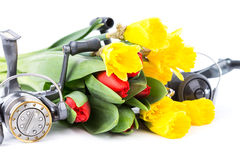 与春天花的钓具 免版税图库摄影