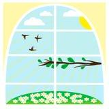 与春天风景的例证 免版税库存照片