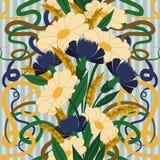 与春黄菊和矢车菊的无缝的墙纸在艺术nouveau样式 免版税库存照片