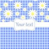 与春黄菊的逗人喜爱的蓝色看板卡邀请 免版税库存图片