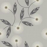 与春黄菊的无缝的样式在方格的背景开花 免版税库存照片