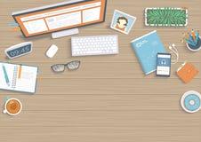 与显示器,书,笔记本的木桌 工作场所桌面工作区背景顶视图 向量例证