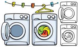 与晒衣夹和洗衣机机器的晒衣绳 图库摄影