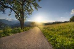 ?? 与晴朗的天空的风景与云彩和美丽的柏油路在晚上在夏天 库存照片