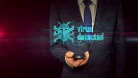 与智能手机和病毒全息图概念的商人 股票视频