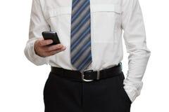 与智能手机的商人 免版税图库摄影