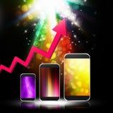 与智能手机的图表在抽象背景,手机illust 免版税库存照片