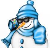 与智能手机的雪人 库存照片