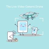 与智能手机的活录影cameradrone 库存图片
