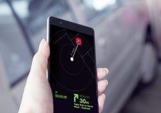 与智能手机的GPS应用 免版税图库摄影