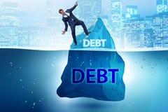 与暗藏的冰山的债务和贷款概念 库存图片