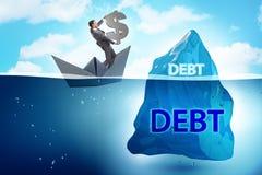 与暗藏的冰山的债务和贷款概念 免版税图库摄影