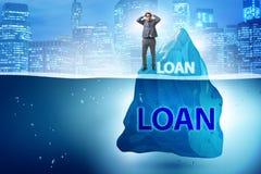 与暗藏的冰山的债务和贷款概念 库存照片
